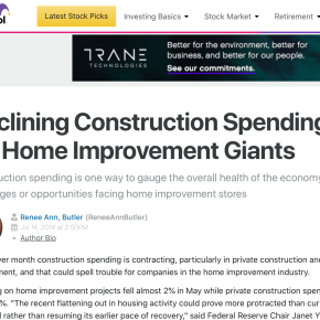 Motley Fool: Declining Construction Spending Could Spell Trouble for Home Improvement Giants