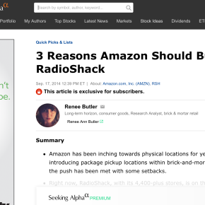 Seeking Alpha: 3 Reasons Amazon Should Buy RadioShack