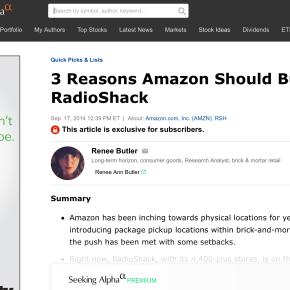 Seeking Alpha: 3 Reasons Amazon Should BuyRadioShack